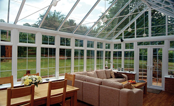 A stylish conservatory fitted with Celsius Clear glass.